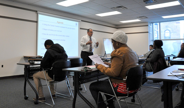 People being trained in a career center classroom.