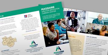 MassHire brochure on desk.